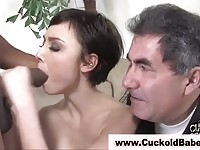 Some guys wife sucking black dong